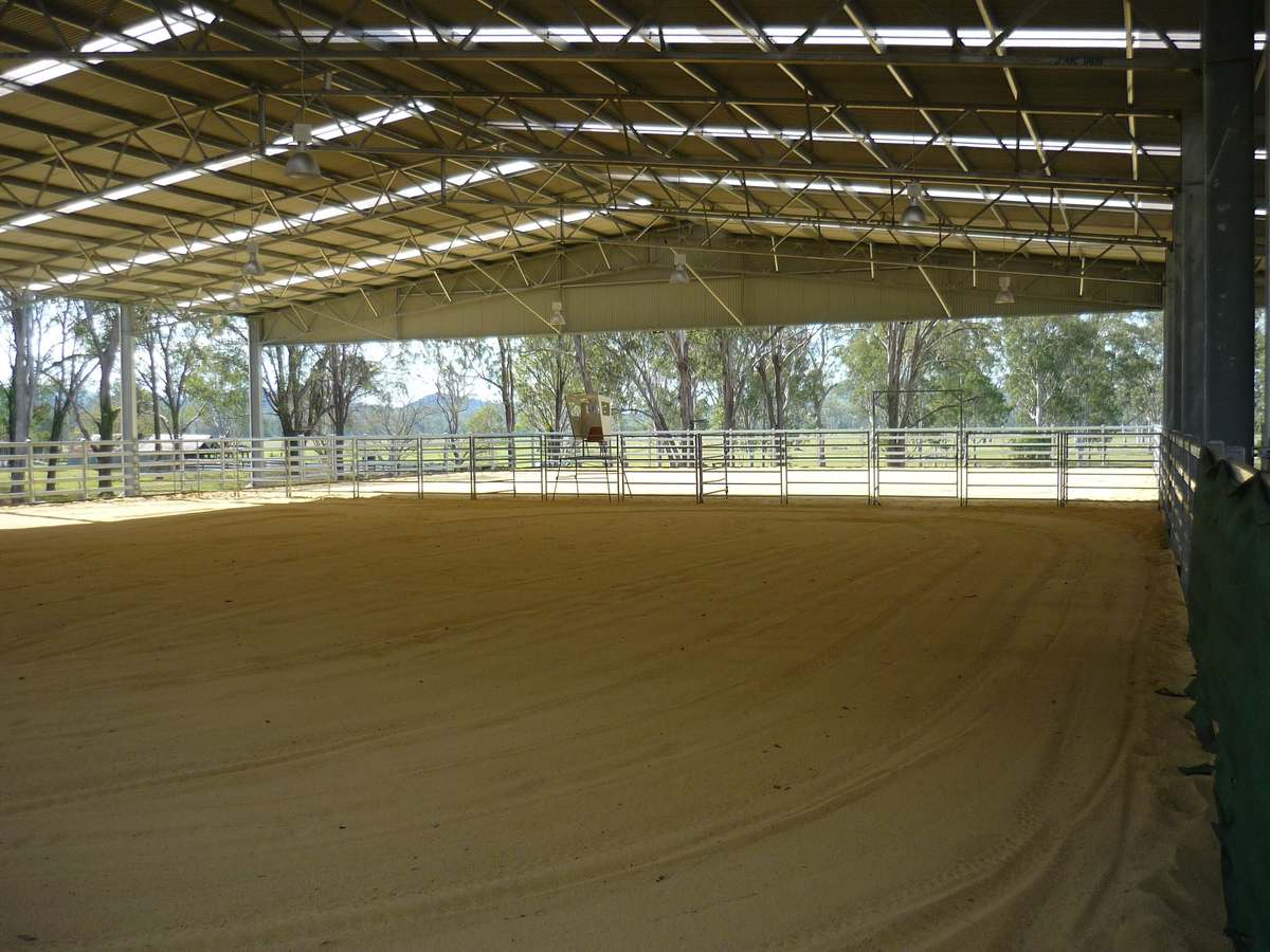 ABC Sheds dressage arena with sand surface flooring