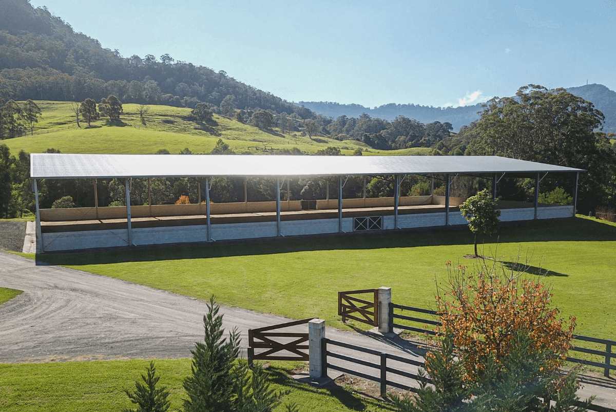 ABC Sheds enclosed dressage arena with roof