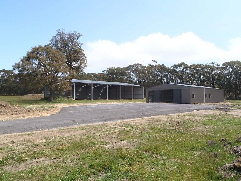 Dressage arena and horse stables at Eureka Horse Wisdom
