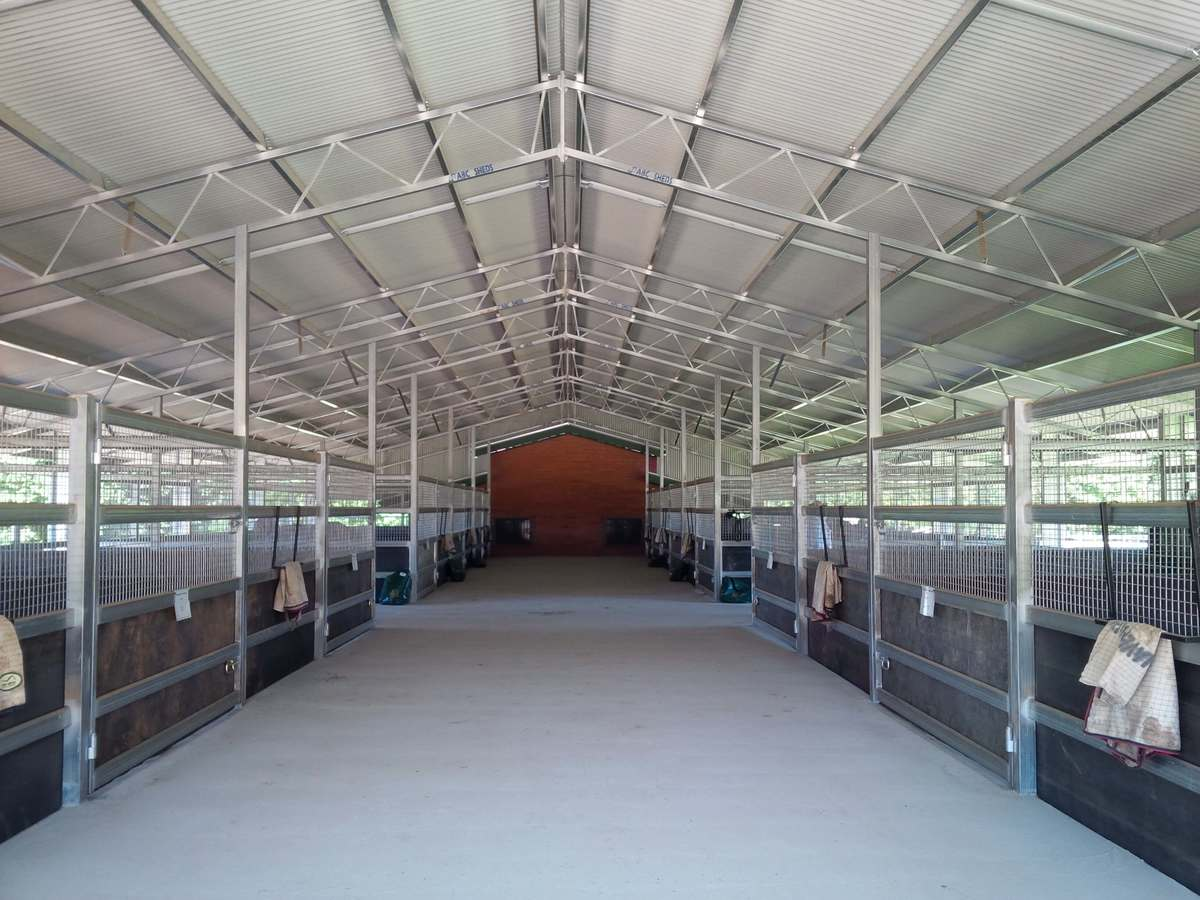 Inside a horse stable complex