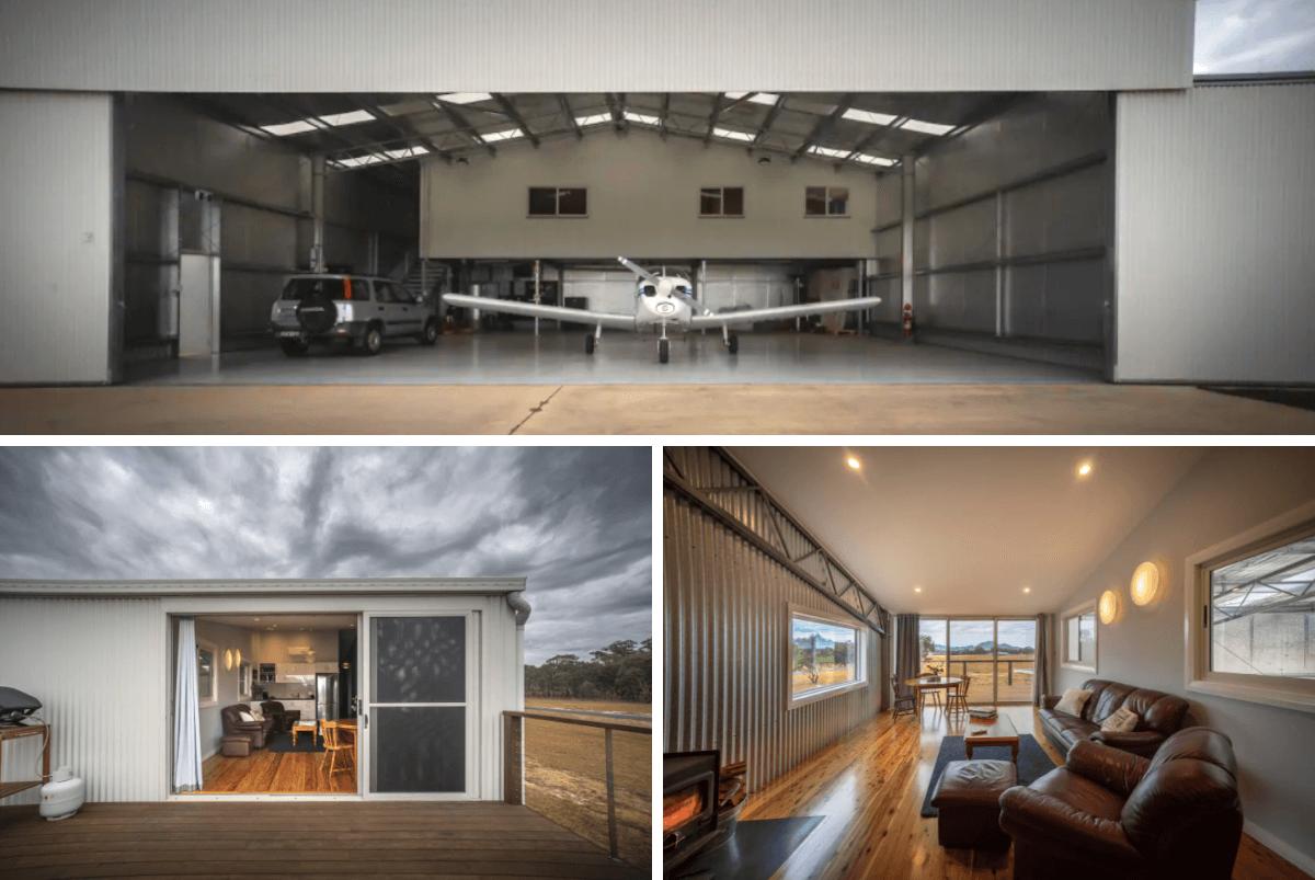 Aircraft hangar home holiday rental