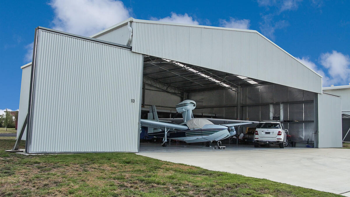 Aircraft hangar by ABC Sheds