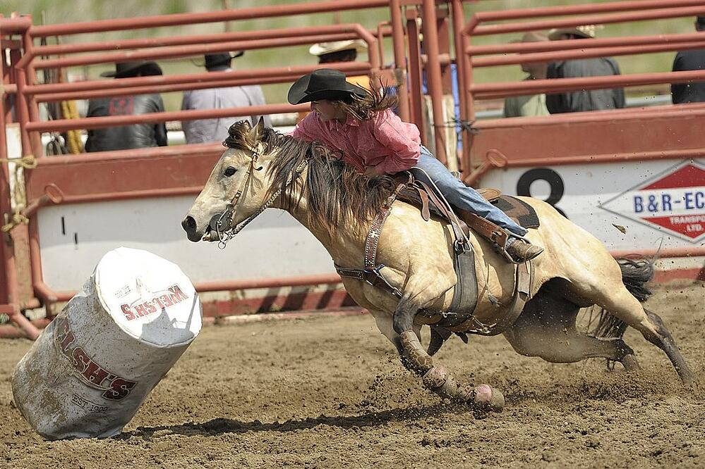 Ladies barrel racing rodeo event