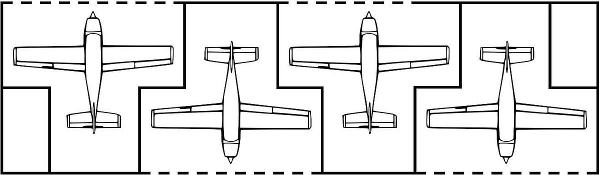 T hangar aircraft formation