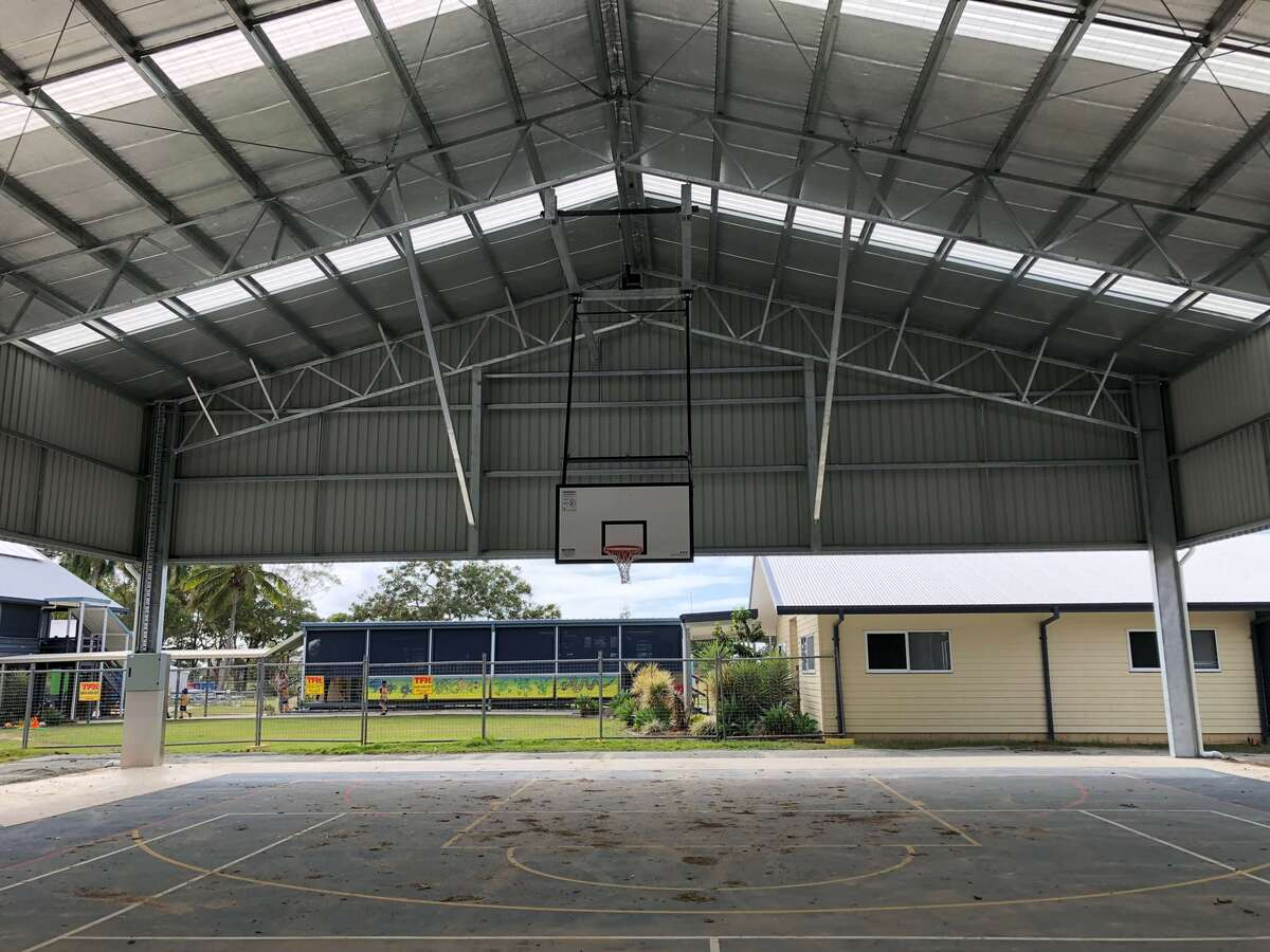 Inside view of cyclone rated shed in Chelona