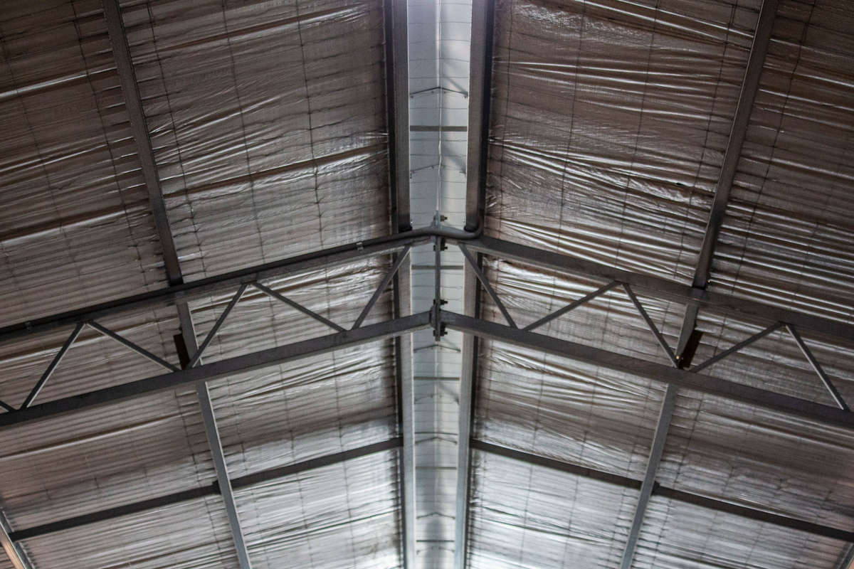Steel framing inside shearing shed - Boorowa