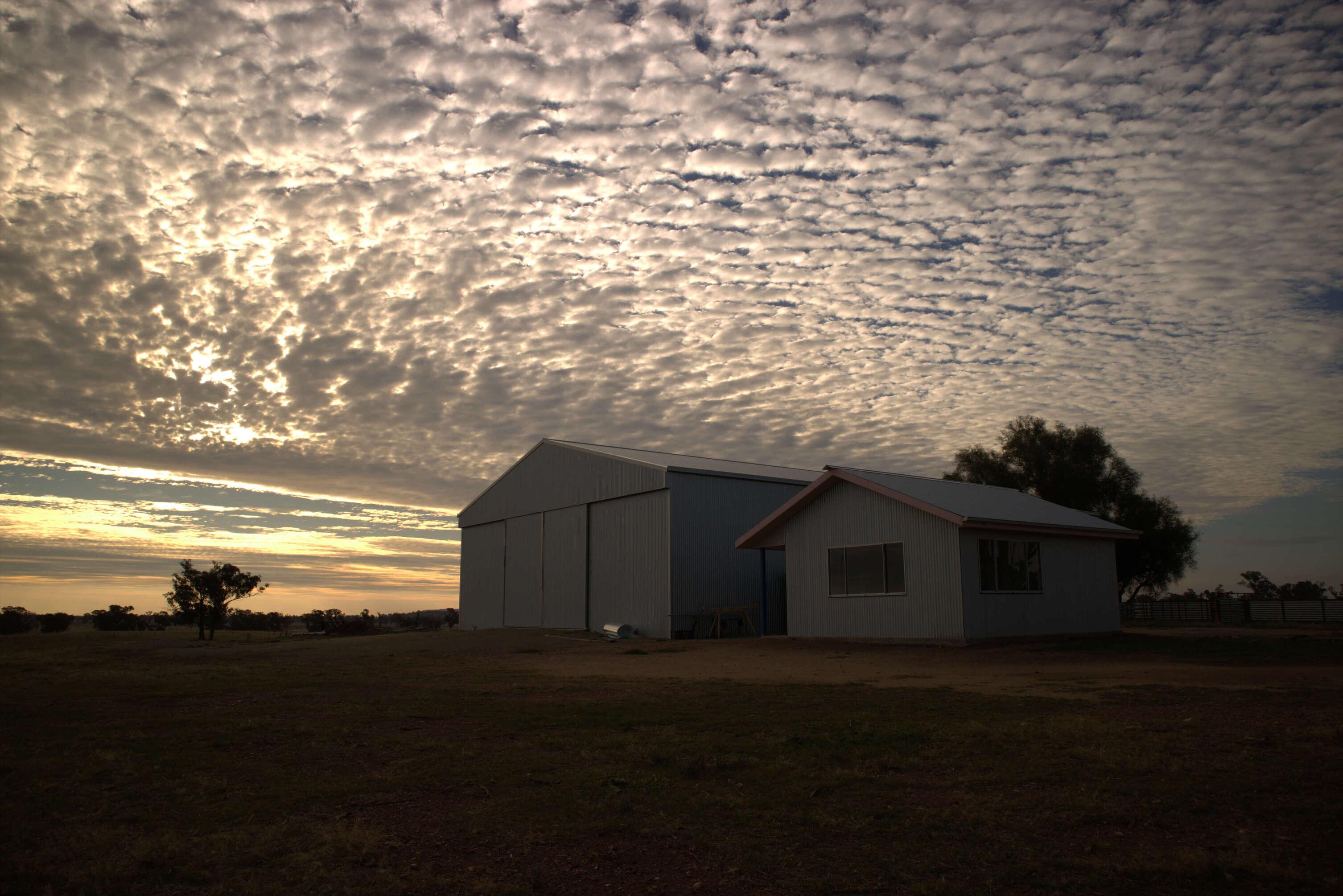Shearing shed at dusk