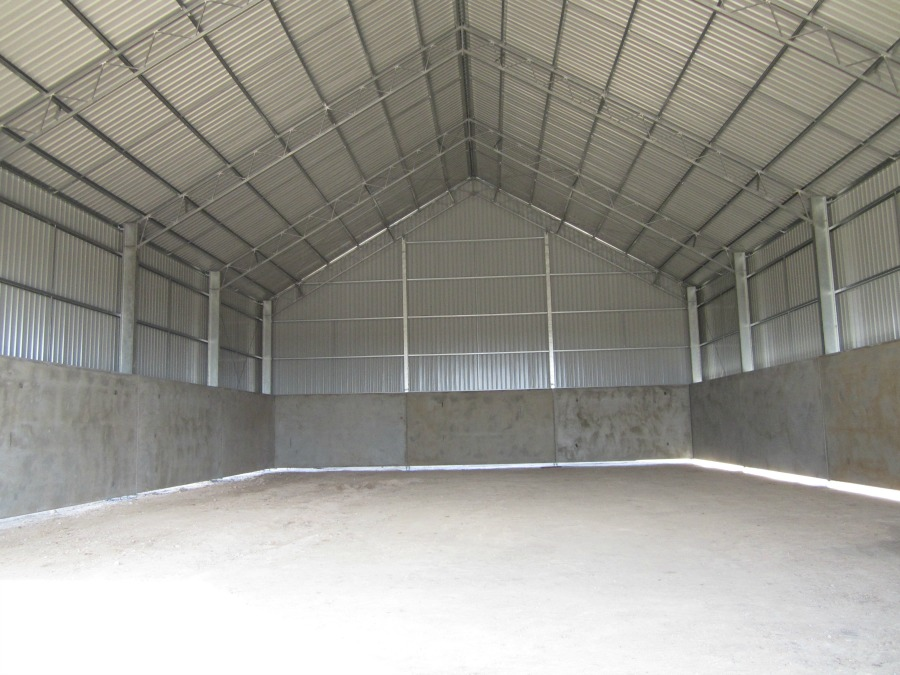 Inside grain shed in Boomi