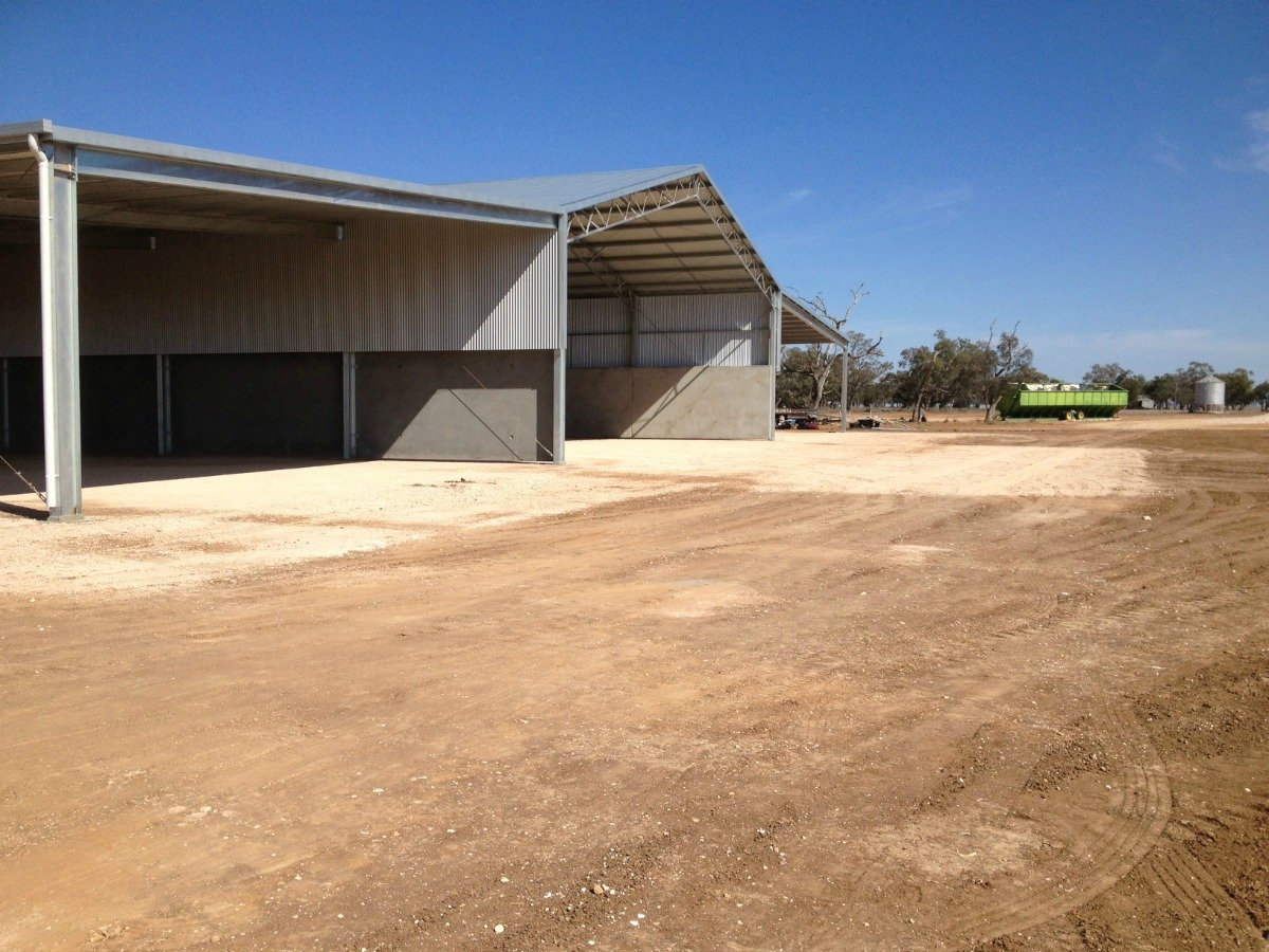 Side view of grain shed in Walgett