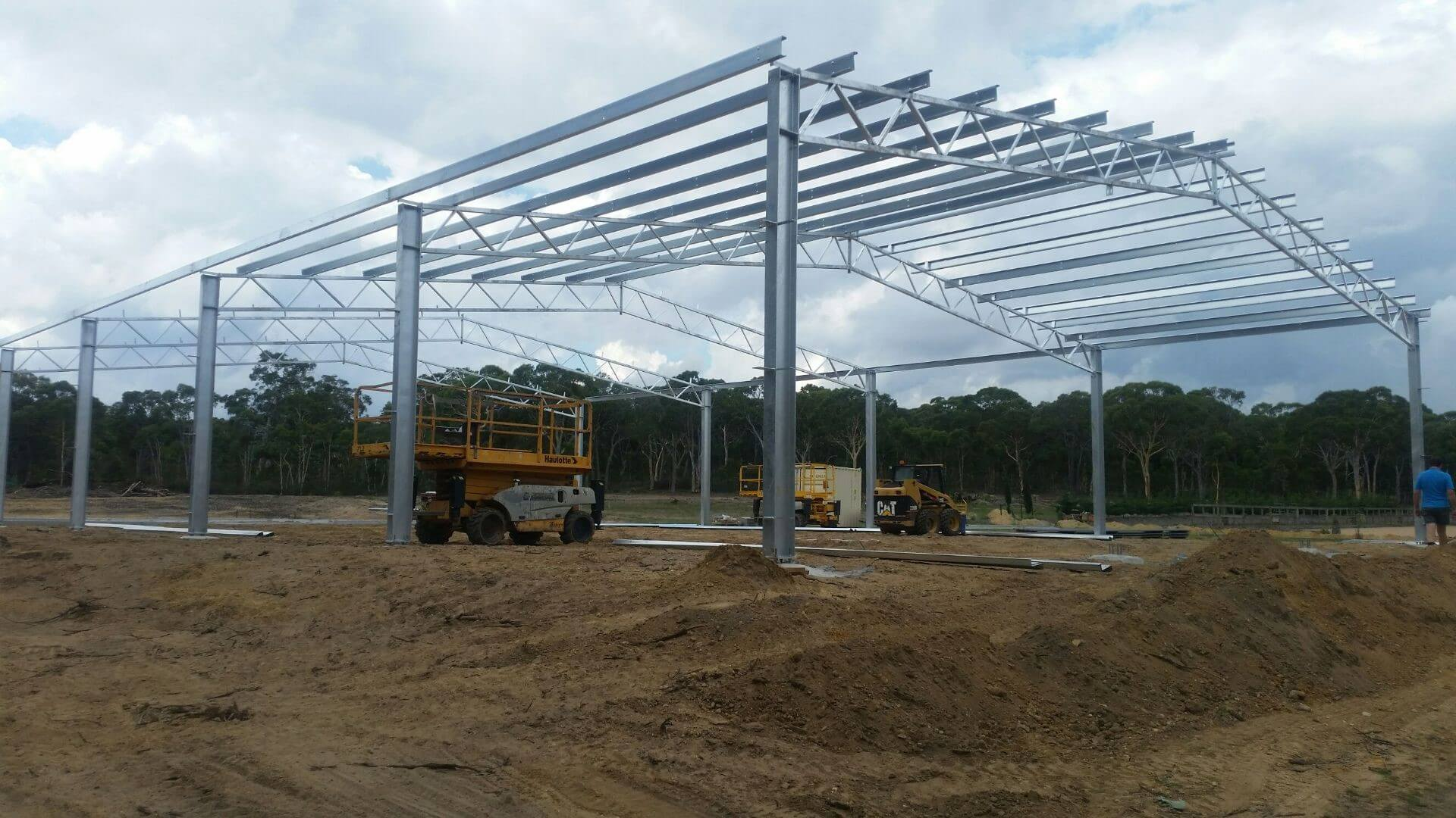 Structural steel horse arena being built in NSW
